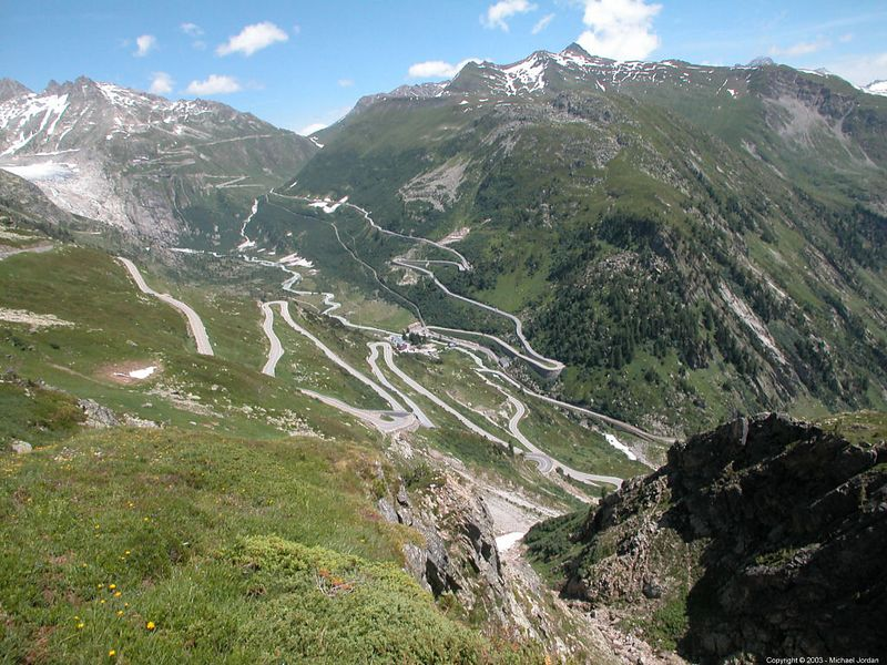 Rhone Valley - looking down the Grimselpass toward the Furkapass - Gletsch at the bottom