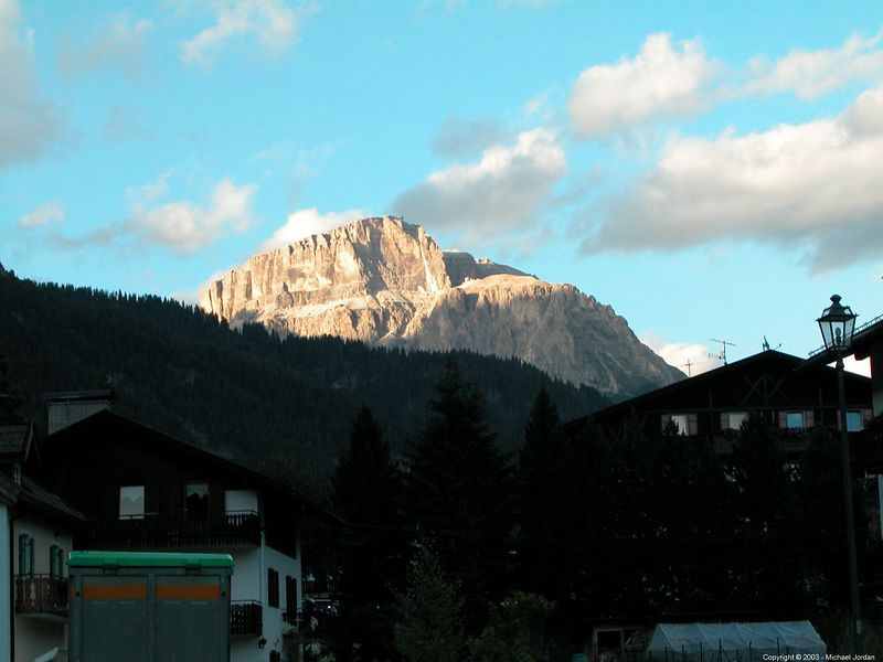 Looking east from rental apartment in Campitello di Fassa
