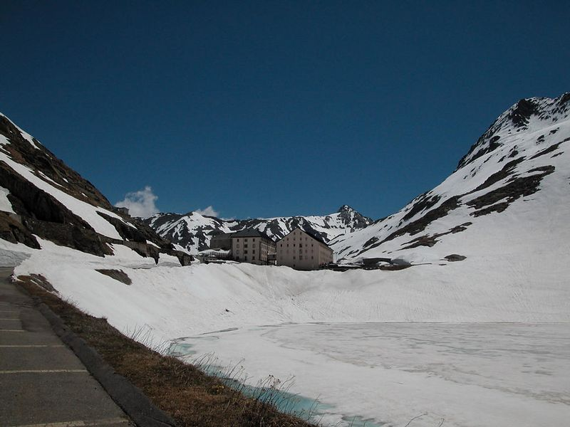 The Great Saint Bernard Pass between Switzerland and Italy. This is the old road.