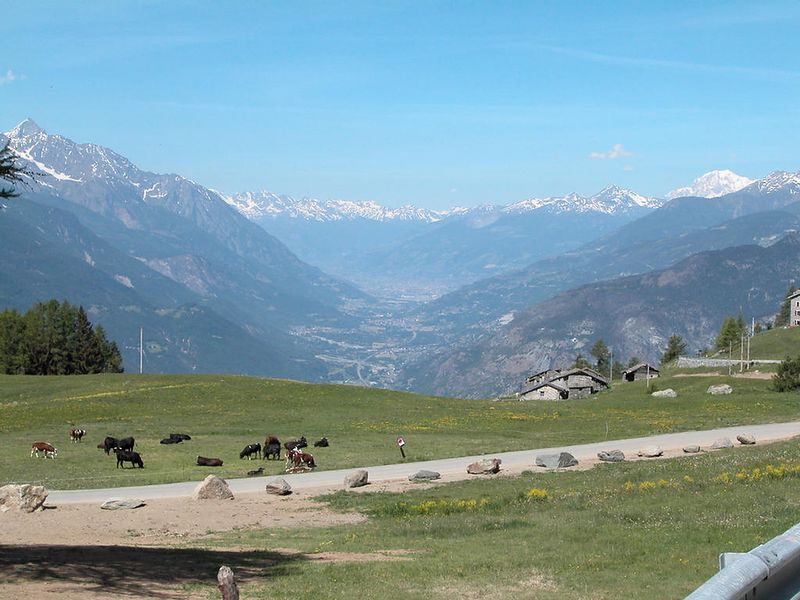 The Val D'Aosta in Italy from the Col de Joux. Mont Blanc in the background.