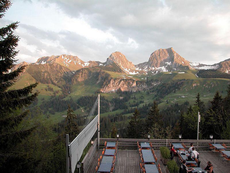 Burghaus Gurnigel in Switzerland. Evening view from room.