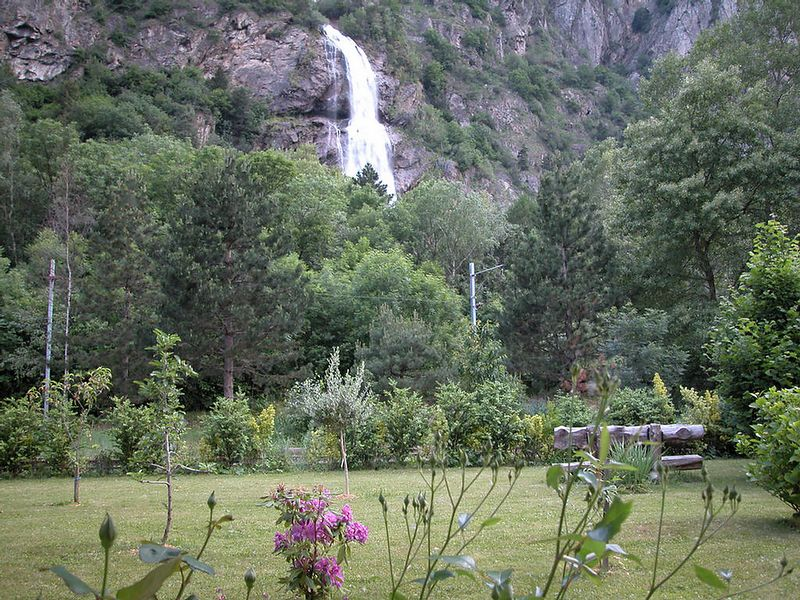 Le Cascade Pissevache, as seen from my hotel room.<br /> I'll leave the translation to you.