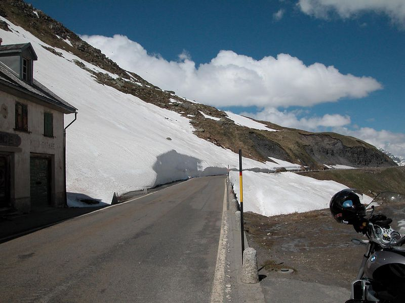 A stretch of road near the top of the Furka Pass in Switzerland