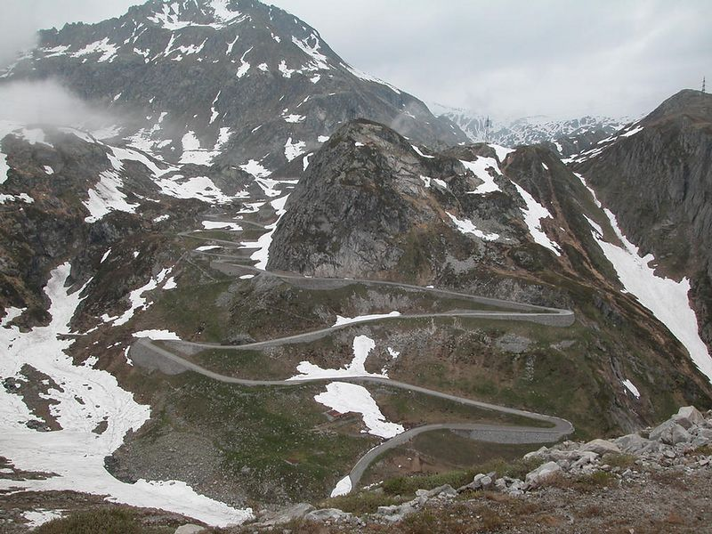 The old road (the Tremola) over the St. Gottard Pass - taken from the new road.