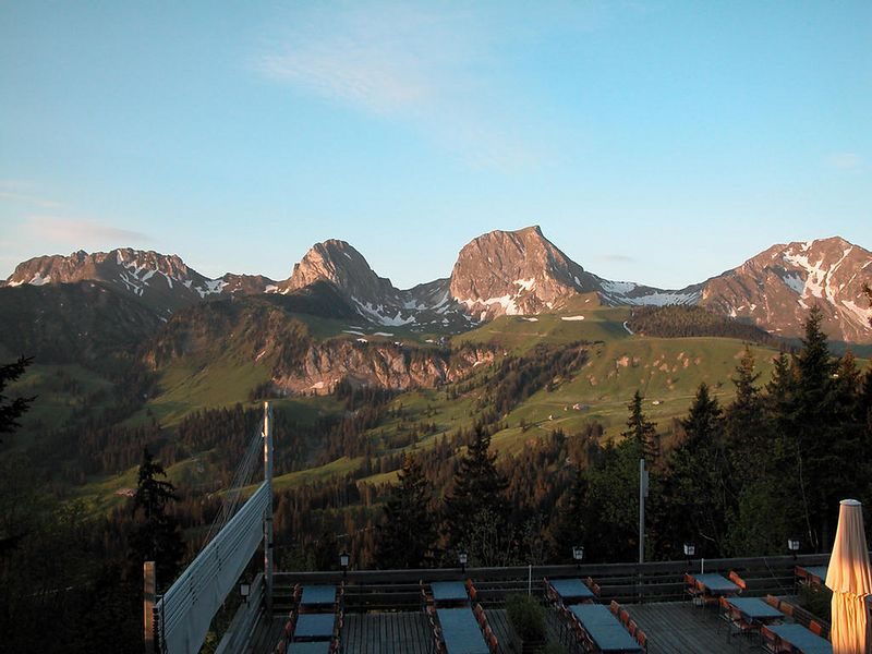 Burghaus Gurnigel in Switzerland. Morning view from room.