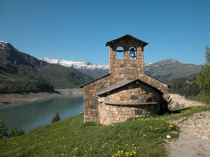 Stone chapel near the Barrage (Dam) de Roselend
