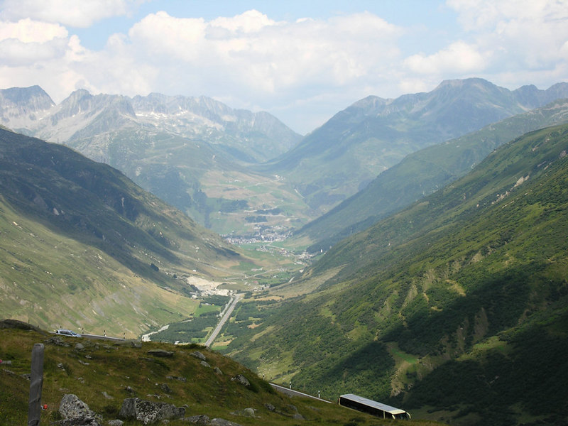 Switzerland - from the Grimselpass road - Andermatt in the background