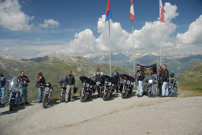 Switzerland - Nufenenpass - American HOG members out of Germany for the weekend
