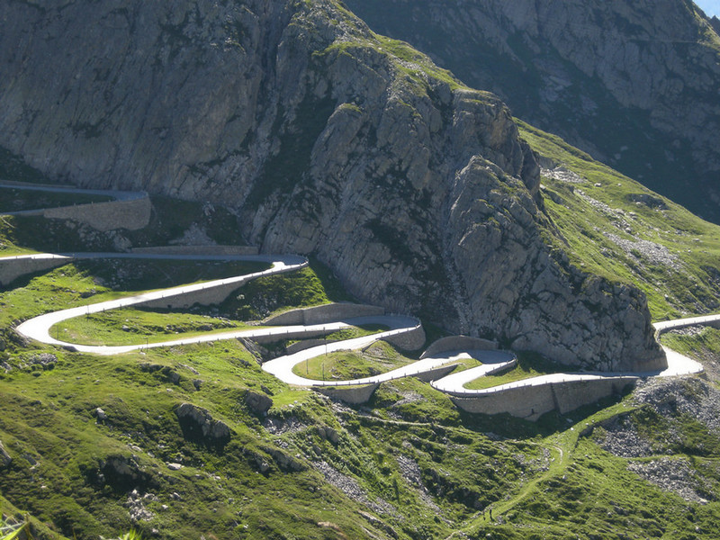 La Tremola - old cobblestoned road from St. Gottard Pass to Airolo (from newer road)