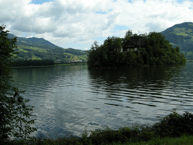 Little fortified island on small lake near Schwyz