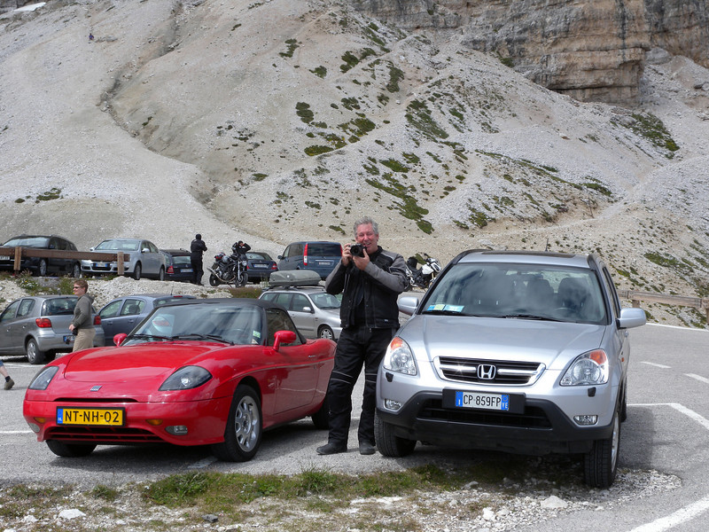 Taking a pic of Chris taking a pic of us - somewhere around Passo Rolle