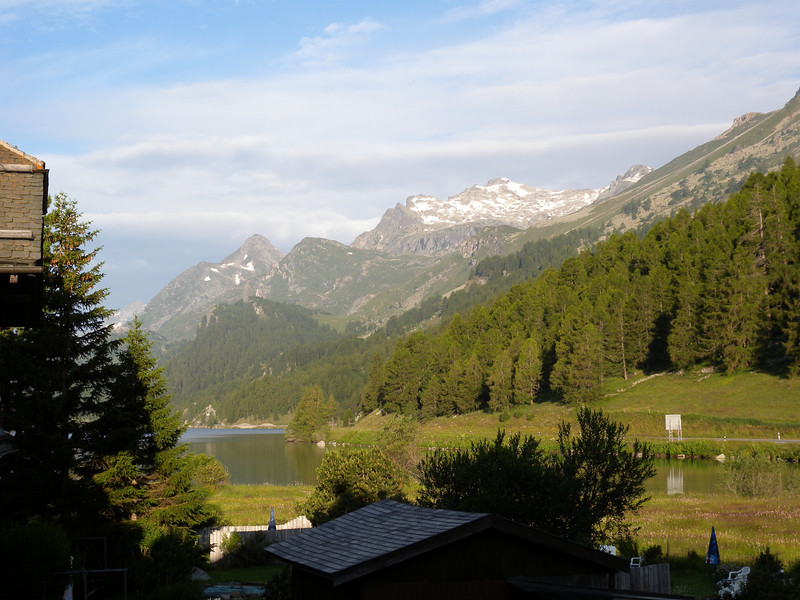 Early morning view from hotel room in Switzerland