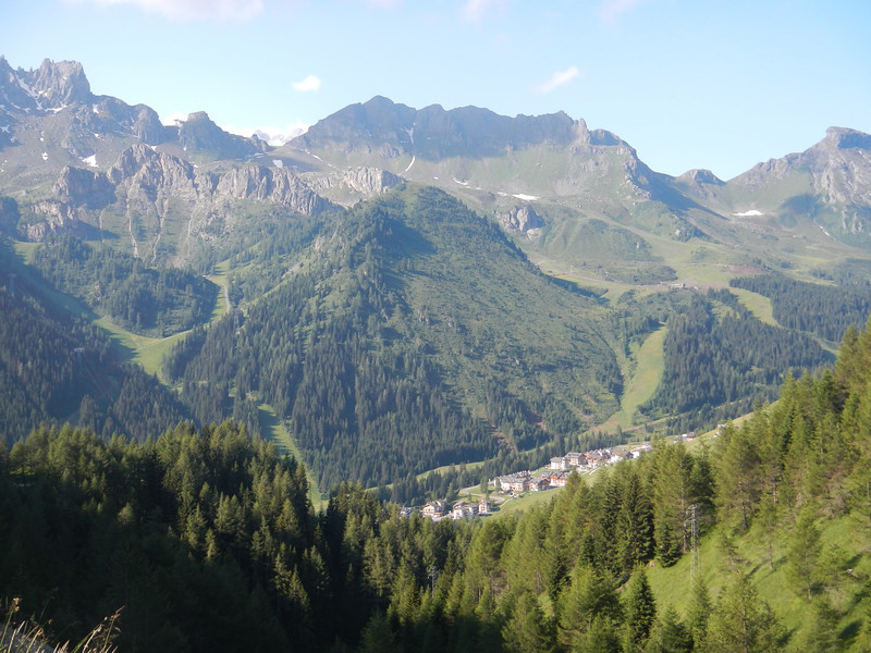 Looking down on Arabba from Passo Campolongo