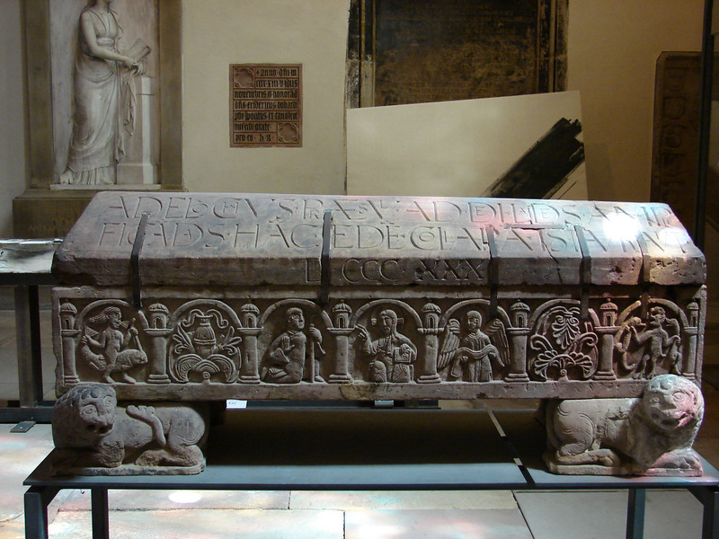 The date on this casket in the St. Thomas church in Strasbourg is 1330.