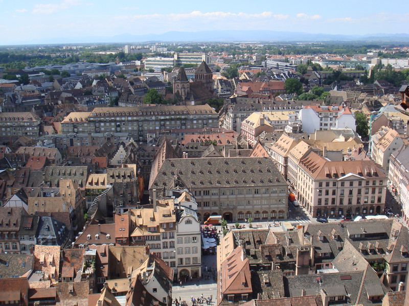 View from the roof of the cathedral in Strasbourg, France.