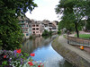 The river Ill that surrounds the old city of Strasbourg, France.