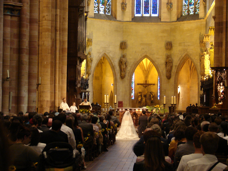 A wedding in the Cathedral in Colmar, France.
