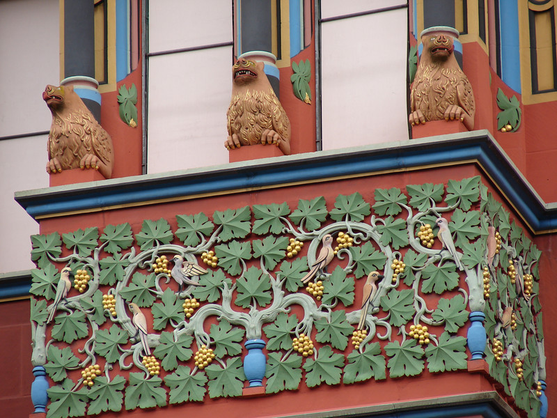 Detail on a restored building in Basel, Switzerland.