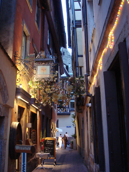 The old city of Strasbourg is full of small alleys like this with restaurants and winstube.
