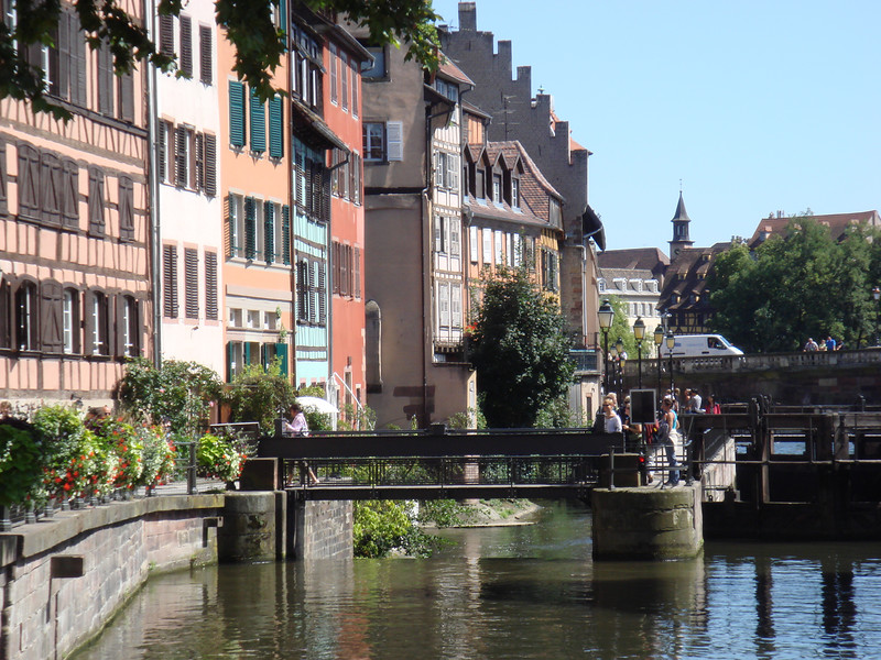 A lock on the river Ill in the Petite France district of Strasbourg.