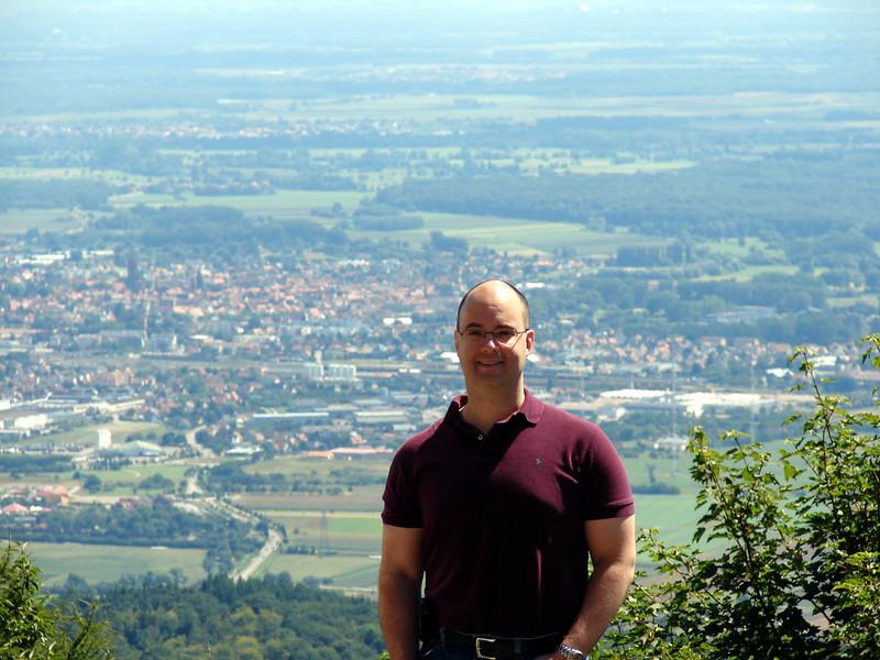 Peter, above the vineyards of Alsace,  seen from Haut-Koenigsbourg.