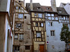 Half timbered buildings in Strasbourg.  This type of construction was designed to be put up and taken down and moved rapidly, so that houses of this type were considered more like furniture than buildings.