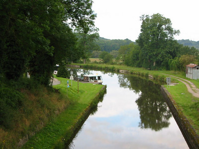 View from the little bridge looking down on the canal.