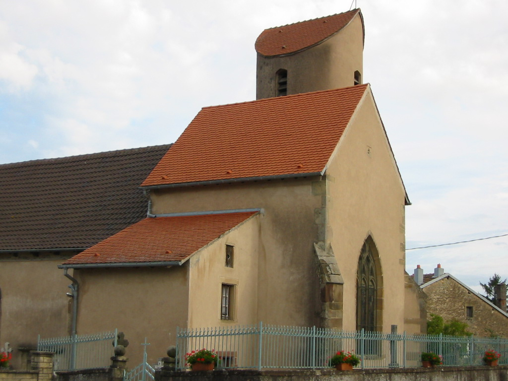 The church in Xouxange. Unusual tower.