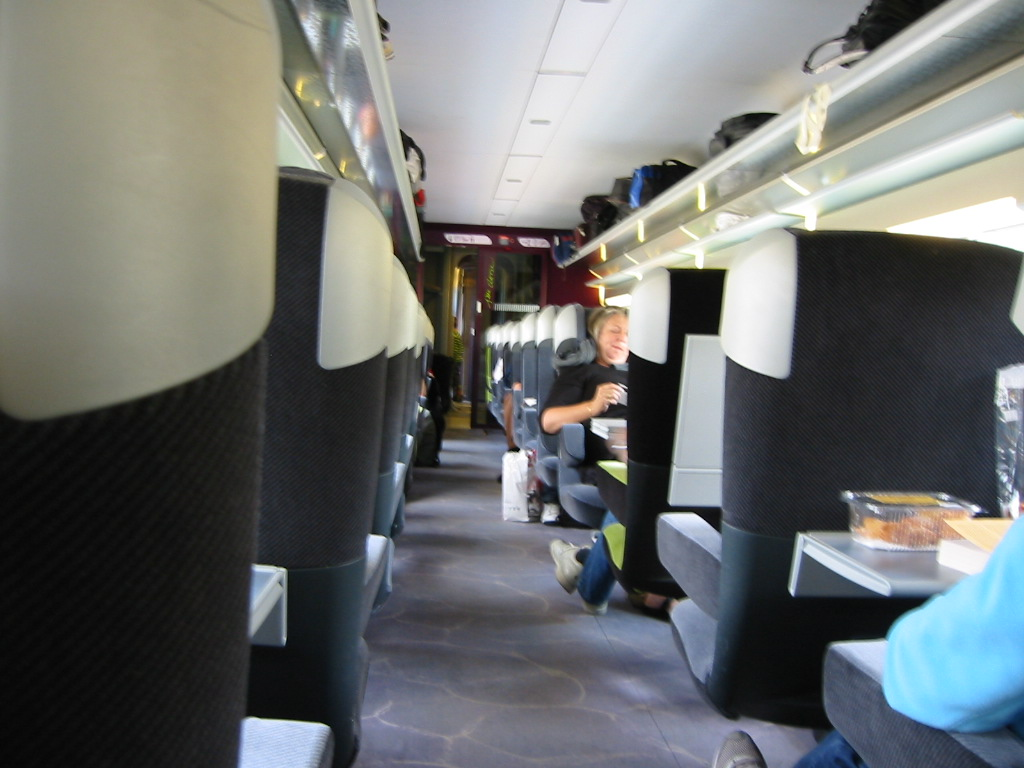 Looking down the aisle on the TGV. This is a gorgeous train.
