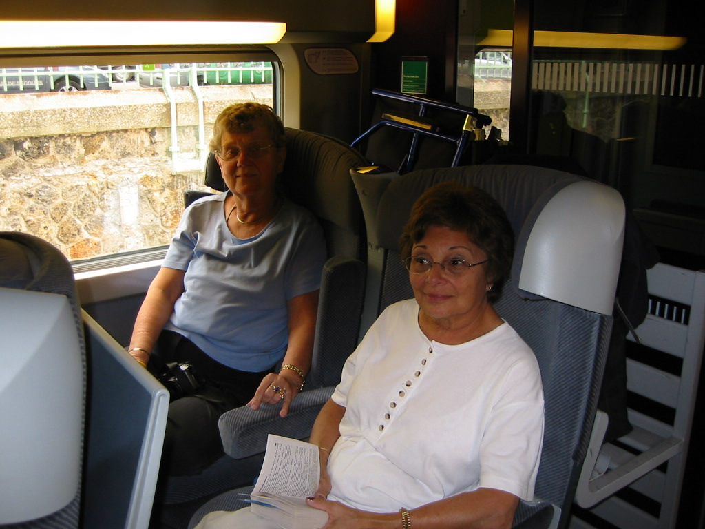 Janet and Edie on the TGV to Nancy