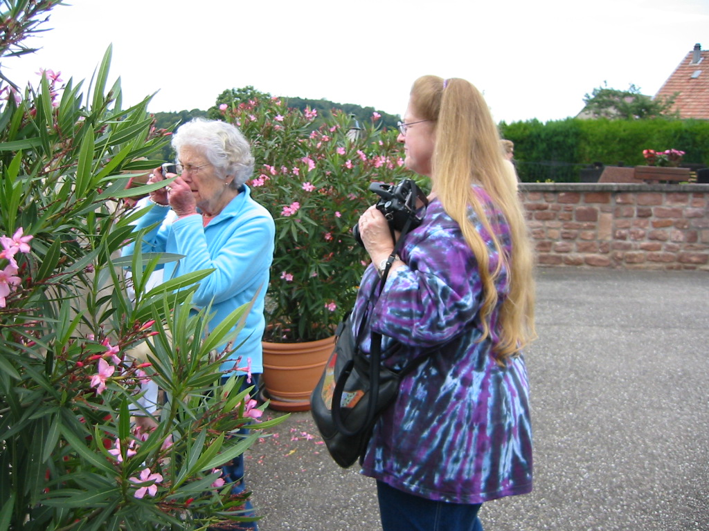Expert photographer at work! Her assistant, Anne, stands by ready to assist.