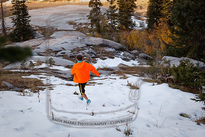 Wyatt proves that skate shoes are optimal for hiking on early crusty snow and ice covered rock. Shorts are a must too. The socks came off after hiking through burr infested dry weeds on our bush-wacking diversion from the dirt road in.