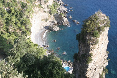 The Beach of The Grand Hotel Tritone - Several hundred feet below the hotel lobby