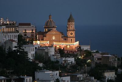 The Church of San Gennaro decorated in celebration of the feast of Saint Gennaro in Praiano