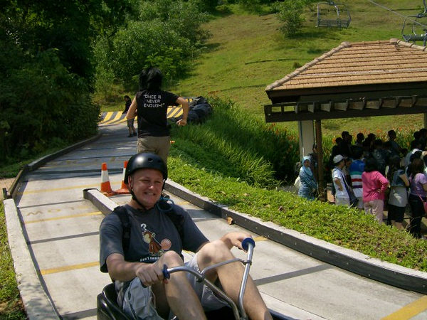 My friend Oz enjoying the luge ride. He was slower than me.