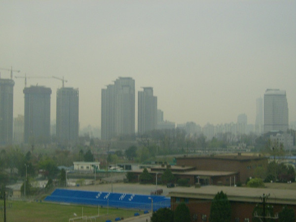 This is a view of Seoul from a hotel room on an Army base.