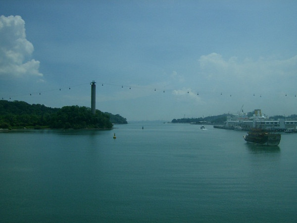 I was on a subway crossing over the ocean in Singapore to the beautiful and tropical vacation resort island of Sentosa!