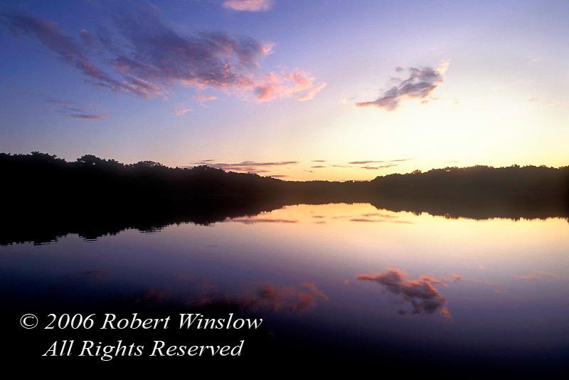 Sunset, Lake Pilchicocha, Amazon Basin Rain Forest, Ecuador