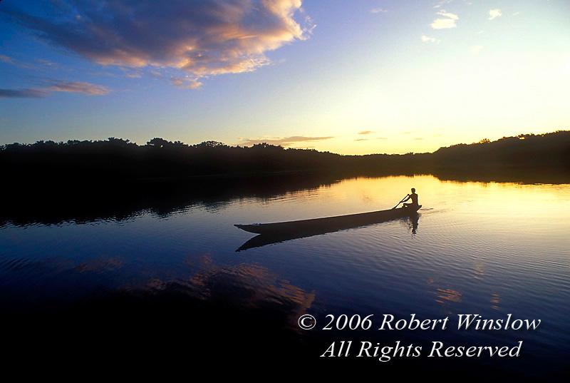 Sunset, Dugout Canoe, on Lake Pilchicocha, Amazon Basin Rain Forest, Ecuador