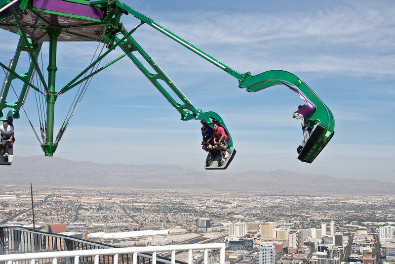 """The aptly named """"Insanity"""", at 900ft the 2nd highest thrill ride in the world, spins at 40mph!"""