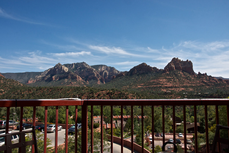 """The view while having lunch in Sedona, Arizona, surrounded by the """"majestic crimson red buttes, monoliths and spires that have made it famous"""""""