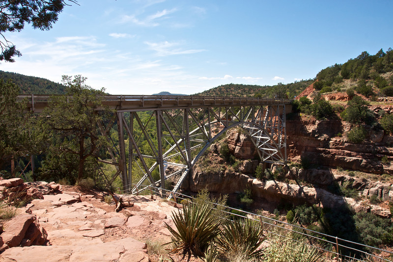 View of Midgley Bridge from Oak Creek Vista Point, State Route 89A(scenic roadway) from Flagstaff to Sedona through Oak Creek Canyon