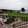 Coffee overlooking the 18th hole at Pebble Beach