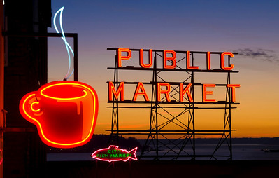 neon public market sign and coffee cup
