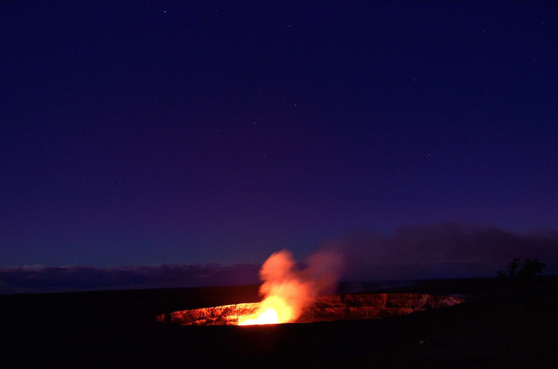 The 520 ft (160m) wide active vent in Halemaʻumaʻu Crater emits a gas and steam plume  best seen after sunset from the Jaggar Museum <br />  Volcanoes National Park Hawaii