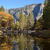 Low water levels make a perfect mirror image<br /> Merced River, Yosemite