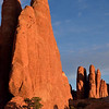 Sandstones rock fins begin to glow around sunset<br /> Arches National Park