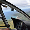 Over Hanalei Bay on the descent into Princeville airport<br /> Kauai
