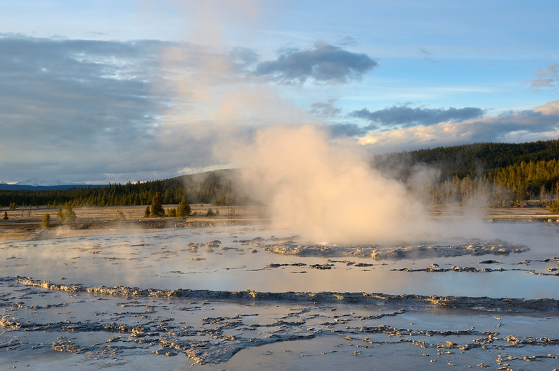 Just off to the right was a gaggle of photographers doing a workshop type activity who completely missed the beauty of the scene.<br /> <br /> Great Fountain Geyser, Firehole Lake Drive,<br /> Yellowstone