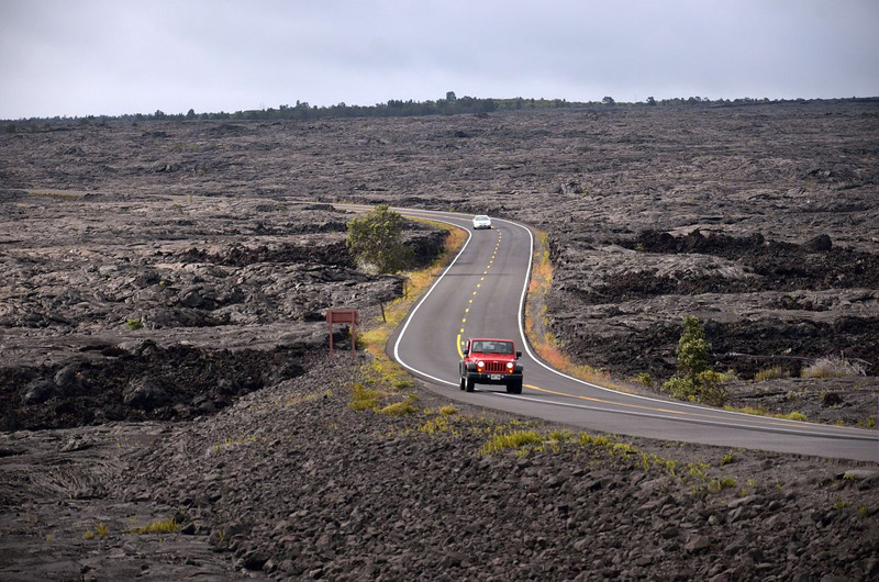 Across the lava fields,<br /> Chain of Craters Road, Volcanoes National Park<br /> Hawaii